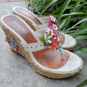 COACH Jesica Floral Wedges Heels Sandals Size 6.5